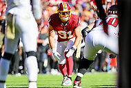 Landover, MD - November 4, 2018: Washington Redskins outside linebacker Ryan Kerrigan (91) in action during game between the Atlanta Falcons and the Washington Redskins at FedEx Field in Landover, MD. The Falcons defeated the Redskins 38-13. (Photo by Phillip Peters/Media Images International)