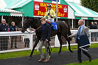 Ace Ventura ridden by Andrea Atzeni is led into the winners enclosure after winning The PKF Francis Clark EBF Novice Stakes during Afternoon Racing at Salisbury Racecourse on 4th October 2017