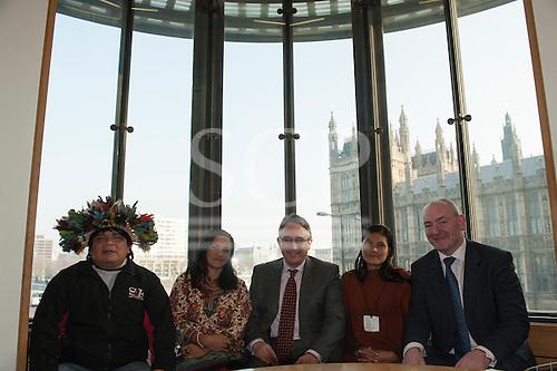 Chief Almir Narayamoga Surui, Sheyla Yakarepi Juruna, Martin Horwood MP and Ruth Buendia Mestoquiari Ashaninka at Portcullis House.