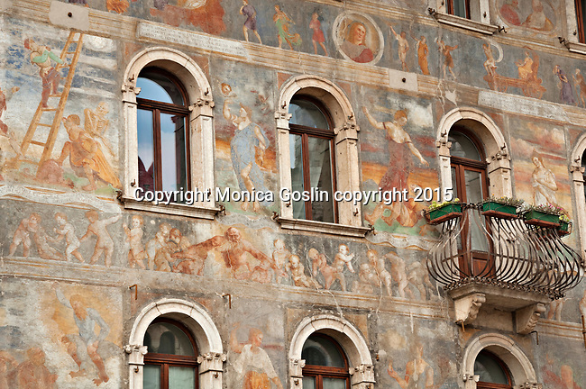 16th century frescos on Casa Rella in Piazza Duomo in Trento, Italy