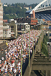 Seattle, 8k running race, Torchlight Run, Seafair, Highway 99 viaduct, downtown, Washington State, Puget Sound, Pacific Northwest,.