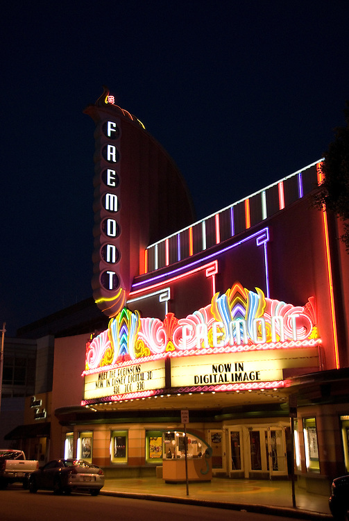 California, San Luis Obispo County: Art Deco Fremont Theater in downtown San Luis Obispo. Neon lights at night..Photo caluis145-70876..Photo copyright Lee Foster, www.fostertravel.com, 510-549-2202, lee@fostertravel.com