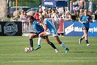 Kansas City, MO - Sunday May 07, 2017: Sydney Leroux, Dani Weatherholt during a regular season National Women's Soccer League (NWSL) match between FC Kansas City and the Orlando Pride at Children's Mercy Victory Field.