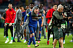 Wayne Rooney of Manchester United celebrates with Eric Bailly after the UEFA Europa League Final match at the Friends Arena, Stockholm. Picture date: May 24th, 2017.Picture credit should read: Matt McNulty/Sportimage
