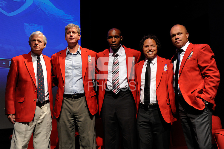 Hall of Fame inductees Bob Gansler, Bruce Murray, Eddie Pope, Cobi Jones, and Earnie Stewart pose for photographers during the 2011 National Soccer Hall of Fame induction ceremony in Foxborough, MA, on June 04, 2011.