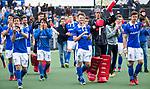 AMSTELVEEN - Vreugde bij oa keeper David Harte (Kampong) , Teun Kropholler (kampong) , Sander de Wijn (Kampong) , Pepijn Luijkx (Kampong) , Sjoerd de Wert (Kampong)  na  de  eerste finalewedstrijd van de play-offs om de landtitel in het Wagener Stadion, tussen Amsterdam en Kampong (1-1). Kampong wint de shoot outs. . COPYRIGHT KOEN SUYK