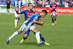 FC Barcelona's Paco Alcacer Club Deportivo Leganes's Unai Bustinza during the match of La Liga between Club Deportivo Leganes and Futbol Club Barcelona at Butarque Estadium in Leganes. September 17, 2016. (ALTERPHOTOS/Rodrigo Jimenez)