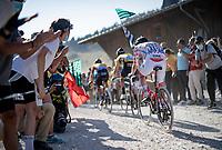 Polka Dot Jersey / KOM leader & GC runner-up Tadej Pogacar (SVK/UAE-Emirates) at the gravel section atop the Montée du plateau des Glières (HC/1390m)<br /> <br /> Stage 18 from Méribel to La Roche-sur-Foron (175km)<br /> <br /> 107th Tour de France 2020 (2.UWT)<br /> (the 'postponed edition' held in september)<br /> <br /> ©kramon