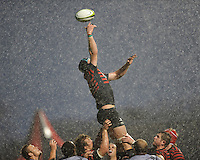 Steve Borthwick of Saracens just misses the lineout ball during the Sanlam Private Investments Shield match between Saracens and the Cell C Sharks at Allianz Park on Saturday 25th January 2014 (Photo by Rob Munro)