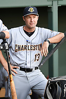 Manager Patrick Osborn (13) of the Charleston RiverDogs in Game 2 of the South Atlantic League Southern Division Playoff against the Greenville Drive on Friday, September 8, 2017, at Fluor Field at the West End in Greenville, South Carolina. Charleston won, 2-1, and the series is tied at one game each. (Tom Priddy/Four Seam Images)