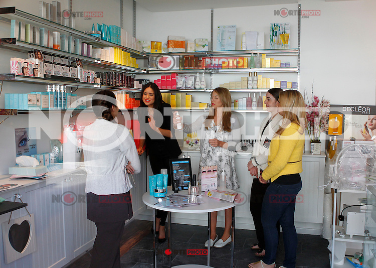 """EXCLUSIVE ALL ROUND PICTURE: MATRIXPICTURES.CO.UK.PLEASE CREDIT ALL USES..WORLD RIGHTS..Reality TV star Lydia Bright is pictured filming scenes for TOWIE, at her """"Bella Sorella"""" boutique in Loughton, Essex...MAY 2nd 2013..REF: DBW 132942"""