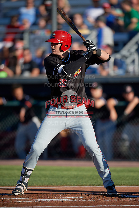 Batavia Muckdogs first baseman Sean Reynolds (25) at bat during a game against the Auburn Doubledays on June 15, 2018 at Falcon Park in Auburn, New York.  Auburn defeated Batavia 5-1.  (Mike Janes/Four Seam Images)