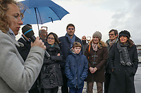 VINCENT JEANBRUN (MAIRE DE L'HAY-LES-ROSES, ANNE HIDALGO (MAIRE DE PARIS) - INAUGURATION DE LA CENTRALE PHOTOVOLTAIQUE SUR TOITURE DU RESERVOIR DE L'HAY-LES-ROSES, FRANCE, LE 14/12/2017.