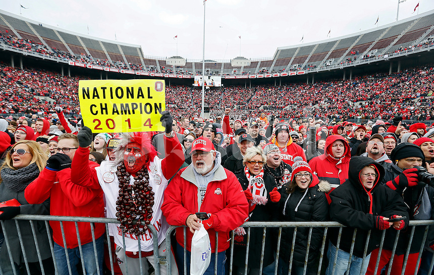 More than 40,000 Ohio State fans cheer during the celebration for winning the national championship at Ohio Stadium on Jan. 24, 2015. (Adam Cairns / The Columbus Dispatch)