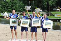 FIERLJEPPEN: GRIJPSKERK: 17-08-2013, 1e Klas wedstrijd, Bart Helmholt, Age Hulder, Bobby Zwaagman, Lisanne Hulder, ©foto Martin de Jong