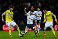 Preston North End's Sean Maguire is tackled by Leeds United's Mateusz Klich<br /> <br /> Photographer Alex Dodd/CameraSport<br /> <br /> The EFL Sky Bet Championship - Preston North End v Leeds United -Tuesday 9th April 2019 - Deepdale Stadium - Preston<br /> <br /> World Copyright &copy; 2019 CameraSport. All rights reserved. 43 Linden Ave. Countesthorpe. Leicester. England. LE8 5PG - Tel: +44 (0) 116 277 4147 - admin@camerasport.com - www.camerasport.com