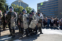 AUSTIN, TEXAS - Riot police keep guard at the Texas Capitol separating White Lives Matter protesters from counter-protestors<br />