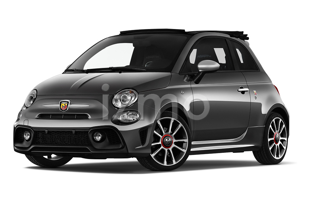 Stock pictures of low aggressive front three quarter view of a 2018 Abarth 595 Turismo Base 2 Door Convertible