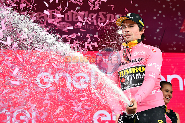 Race leader Primoz Roglic (SLO) Team Jumbo-Visma retains the Maglia Rosa at the end of Stage 2 of the 2019 Giro d'Italia, running 205km from Bologna to Fucecchio, Italy. 12th May 2019<br /> Picture: Massimo Paolone/LaPresse | Cyclefile<br /> <br /> All photos usage must carry mandatory copyright credit (© Cyclefile | Massimo Paolone/LaPresse)