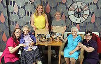 L-R Tracy Hiscock, Sylvia Williams, Liz Stickler from Tesco, Debby Roose, care home manager, Constance Skinner and Sue Johnson