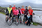 Sean O'Shea, Cahersiveen, Pat Forde, Breakthrough Breakthrough Cancer Research , Mary Kavanagh, Sneem, Nollaig Barry, Kanturk, Nicola Duggan, The Sneem Hotel, Sinead O'Donovan, Tralee,  Ann O'Sullivan, Breakthrough Cancer Research and Doiran Kavanagh pictured at the half way break at Kilmackillogue Harbour in County Kerry whilst taking part in the annual Sneem Cycle, &ldquo;Wild Atlantic Challenge Charity Cycle&rdquo; in aid of Cancer Research at the weekend.<br /> Photo Don MacMonagle<br /> <br /> repro free photo<br /> Further info: Ann O'Sullivan ann@breakthroughcancerresearch.ie