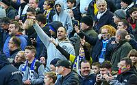 Leeds United fans sing as their team takes to the pitch<br /> <br /> Photographer Alex Dodd/CameraSport<br /> <br /> The EFL Sky Bet Championship - Leeds United v Queens Park Rangers - Saturday 8th December 2018 - Elland Road - Leeds<br /> <br /> World Copyright &copy; 2018 CameraSport. All rights reserved. 43 Linden Ave. Countesthorpe. Leicester. England. LE8 5PG - Tel: +44 (0) 116 277 4147 - admin@camerasport.com - www.camerasport.com