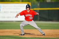 Connor Goedert (20) lead off of first base against the Burlington Royals at Burlington Athletic Park on June 29, 2014 in Burlington, North Carolina.  The Royals defeated the Astros 11-0. (Brian Westerholt/Four Seam Images)