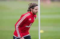 Joe Allen during Wales national team training ahead of the International Friendly match and Euro 2016 warm up match against Northern Ireland at Vale Resort, Hensol, Wales on 22 March 2016. Photo by Mark  Hawkins / PRiME Media Images.