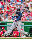 22 June 2014: Atlanta Braves right fielder Jason Heyward in action against the Washington Nationals at Nationals Park in Washington, DC. The Nationals defeated the Braves 4-1 to split their 4-game series and take sole possession of first place in the NL East. Mandatory Credit: Ed Wolfstein Photo *** RAW (NEF) Image File Available ***