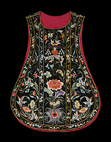 BNPS.co.uk (01202 558833)<br /> Pic: IndarPasricha/BNPS<br /> <br /> Ornate chasuble worn by a bishop.<br /> <br /> From High Fashion to the High Church...<br /> <br /> An incredible collection of 17th century ecclesiastical textiles, that actually started life as luxury fashion worn by the aristocratic women of the day, has emerged for sale.<br /> <br /> The historically important ensemble highlights a golden moment in European textile production dating from 1690 to 1720 when free reign was given to intricate dress designs in gold and silk that was soon adopted by the senior members of the church to adorn they're otherwise plain vestments.<br /> <br /> The valuable collection, assembled over two decades, is now being sold with prices ranging from &pound;5,000 all the way to &pound;1m.