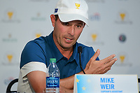 Mike Weir (CAN) speaks during round 1 player selection for the 2017 President's Cup, Liberty National Golf Club, Jersey City, New Jersey, USA. 9/27/2017.<br /> Picture: Golffile | Ken Murray<br /> <br /> <br /> All photo usage must carry mandatory copyright credit (© Golffile | Ken Murray)