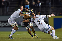 Zach Mercer of Bath Rugby takes on the Exeter Chiefs defence. West Country Challenge Cup match, between Bath Rugby and Exeter Chiefs on October 10, 2015 at the Recreation Ground in Bath, England. Photo by: Patrick Khachfe / Onside Images