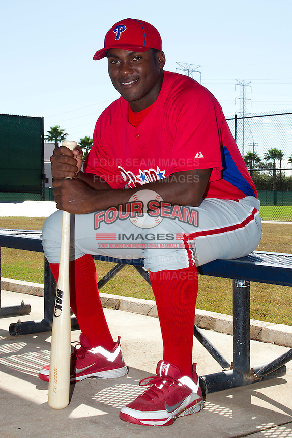 Philadelphia Phillies outfielder Larry Greene #21 poses for a photo after an Instructional League game against the Pittsburgh Pirates at Bright House Field on October 13, 2011 in Clearwater, Florida.  (Mike Janes/Four Seam Images)