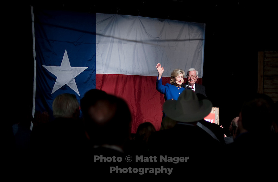 US Senator Kay Bailey Hutchison (cq) waves to a crowd after giving her concession speech and ending her run for Governor of Texas at Eddie Deen's Ranch near downtown Dallas, Texas, Tuesday, March 2, 2010. Hutchison was hoping to get enough votes during the Texas primaries to force a run-off election against current Governor Rick Perry (cq)...PHOTO/ MATT NAGER