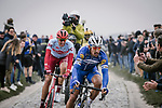 Philippe Gilbert (BEL) Deceuninck-Quick Step and Nils Politt (GER) Team Katusha Alpecin escape off the front during the 117th edition of Paris-Roubaix 2019, running 257km from Compiegne to Roubaix, France. 14th April 2019<br /> Picture: ASO/Pauline Ballet | Cyclefile<br /> All photos usage must carry mandatory copyright credit (&copy; Cyclefile | ASO/Pauline Ballet)