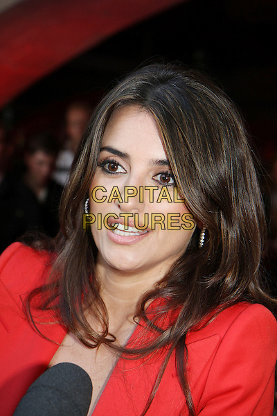 "PENELOPE CRUZ .Attending the UK Film Premiere of ""Broken Embraces"" (Los Abrazos Rotos) at Somerset House, London, England, UK, July 30th 2009..portrait headshot red blazer jacket shoulder pads microphone interview .CAP/MAR.©Martin Harris/Capital Pictures"
