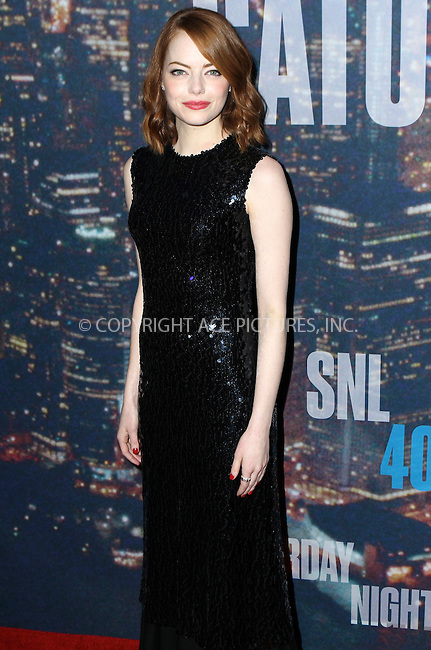 WWW.ACEPIXS.COM<br /> <br /> February 15 2015, New York City<br /> <br /> Emma Stone arriving at the SNL 40th Anniversary Special at the Rockefeller Plaza on February 15, 2015 in New York<br /> <br /> By Line: Nancy Rivera/ACE Pictures<br /> <br /> <br /> ACE Pictures, Inc.<br /> tel: 646 769 0430<br /> Email: info@acepixs.com<br /> www.acepixs.com
