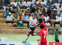 Luis Gil heads the ball. US Under-17 Men's National Team defeated United Arab Emirates 1-0 at Gateway International  Stadium in Ijebu-Ode, Nigeria on November 1, 2009.