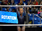 The SEC National Gymnastic Championship was held on Saturday March 24 at Chaifetz Arena on the Saint Louis University campus. Alex McMurtry of Florida leaps onto the uneven bars.<br />