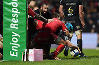 Zach Mercer of Bath Rugby scores a try in the second half. Heineken Champions Cup match, between Stade Toulousain and Bath Rugby on January 20, 2019 at the Stade Ernest Wallon in Toulouse, France. Photo by: Patrick Khachfe / Onside Images