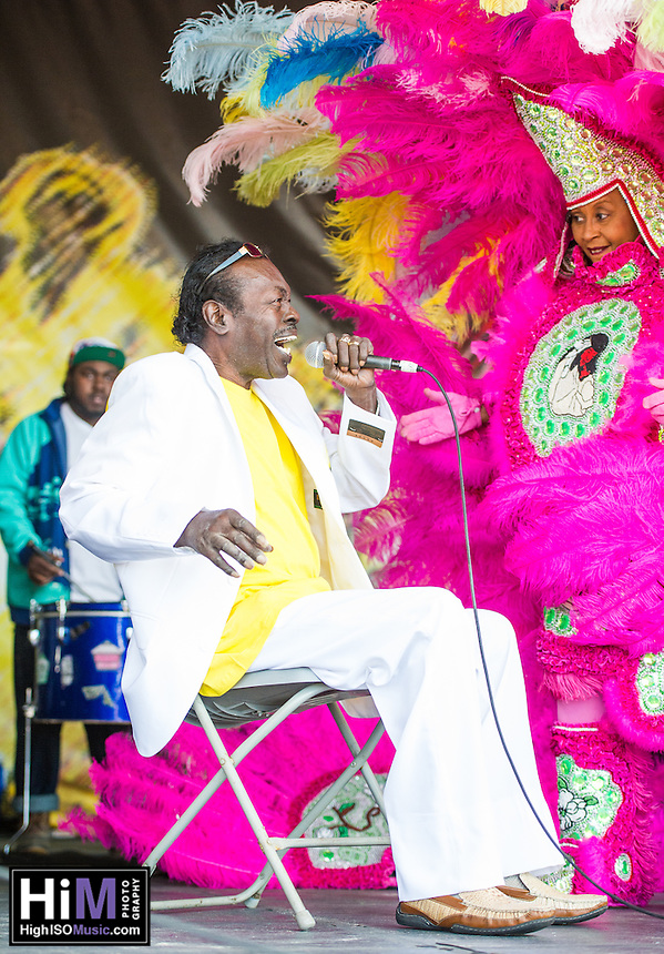 Big Chief Bo Dollis and members of his family perform at the 2013 Jazz and Heritage Festival in New Orleans, LA on May 5, 2013.  © HIGH ISO Music, LLC / Retna, Ltd.