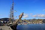 Preparing sails on Roald Amundsen tall ship, docked in Santa Cruz harbour. Tenerife,Canary Islands.