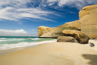 The spectaular cliffs at Tunnel Beach on the Otago Coast near Dunedin, South Island, New Zealand