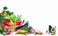 Variation of fresh vegetables and white background