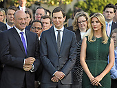 Director of the National Economic Council and chief economic advisor Gary Cohn, left, Senior Advisor to the President Jared Kushner, center, and Advisor to the President Ivanka Trump, right, await the arrival of United States President Donald J. Trump and first lady Melania Trump who will lead a moment of silence in remembrance of those lost on September 11, 2001 on the South Lawn of the White House in Washington, DC on Monday, September 11, 2017.<br /> Credit: Ron Sachs / CNP