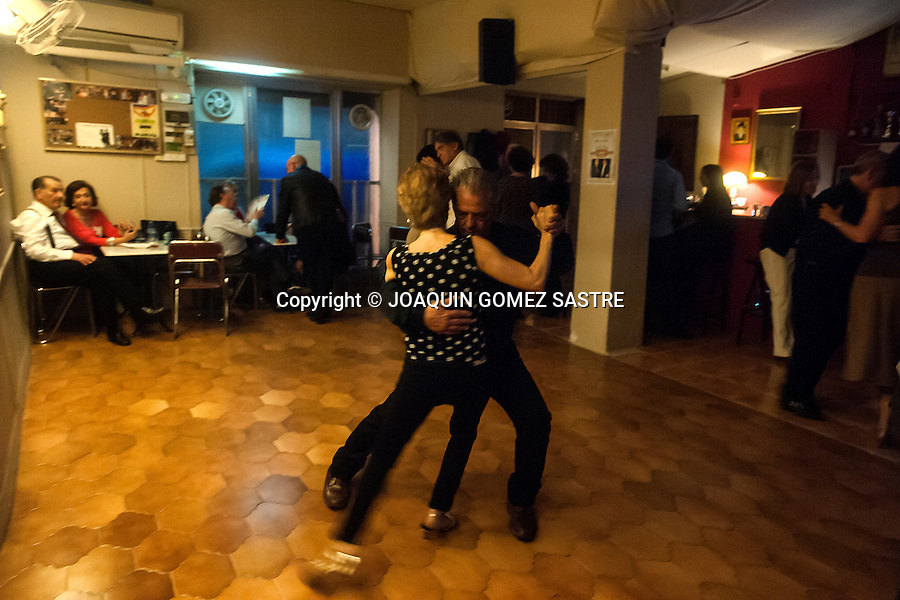 A couple dances at the milonga every Saturday night organizes association friends of tango  in their local <br />  PHOTO &copy; JOAQUIN GOMEZ  SASTRE
