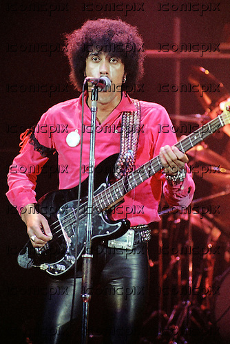 THIN LIZZY - vocalist and bassist Phil Lynott - performing live at the Odeon Hammersmith in London - 23 Apr 1979.  Photo credit: Alan Perry/IconicPix