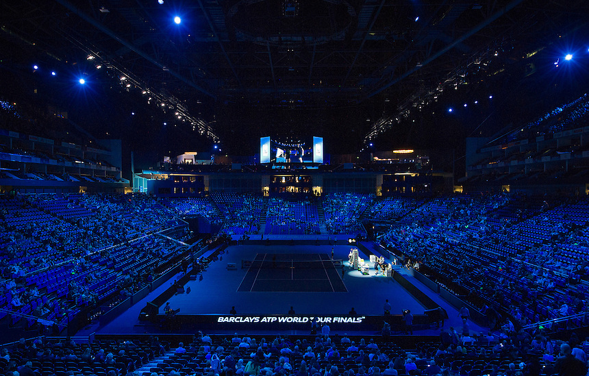 A general view of the O2 Arena as Jamie Murray (GB) and John Peers (Aus) arrive on court<br /> <br /> Photographer Ashley Western/CameraSport<br /> <br /> International Tennis - Barclays ATP World Tour Finals - O2 Arena - London - Day 1 - Sunday 15th November 2015<br /> <br /> &copy; CameraSport - 43 Linden Ave. Countesthorpe. Leicester. England. LE8 5PG - Tel: +44 (0) 116 277 4147 - admin@camerasport.com - www.camerasport.com