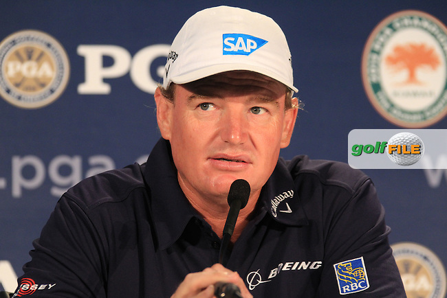 2012 Open Champion Ernie Els (RSA) in the interview room during Wednesday's practice day of the 2012 PGA Golf Championship at The Ocean Course, Kiawah Island, South Carolina, USA 7th August 2012 (Photo Eoin Clarke/www.golffile.ie)