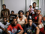 Patricia Lowe, mother of Edward, center, and family, clockwise from bottom left: Kion Woods, cousin, Marcus Clark, brother in law, Henry Lowe, brother, Uriah Span, brother, Constance Span, sister, Kameren Reese, niece, Allen Reese, brother in law, King Allen Reese, nephew, Jacinika Lucas, sister, and Daejon McCalebb, cousin
